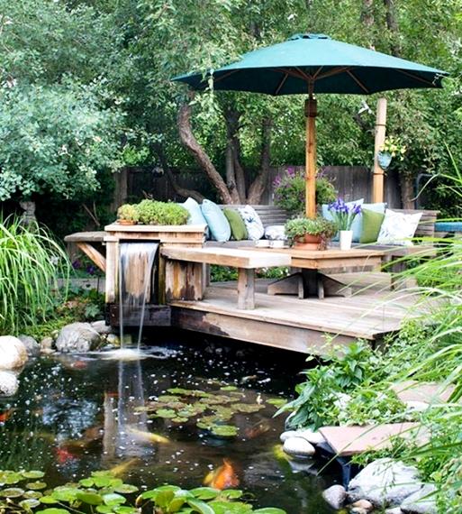 taman rumah minimalis ada kolam